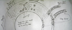 Grey and white pencil sketch of a circular design with flowers. Parts of the sketch are labelled with pencilled notes.
