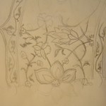 Pencil sketch of a complex design featuring flowers and vines